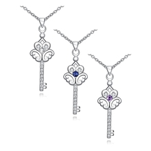 Hot silver key pendant necklace with AAA Zircon fashion jewelry wedding gift for woman good quality N082