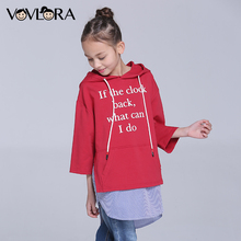 Girls tshirt Hooded Three Quarter Sleeve Letter Children tshirt Tops Print Cotton Kids Clothes Spring 2018 Size 7 8 9 10 11 12 Y(China)