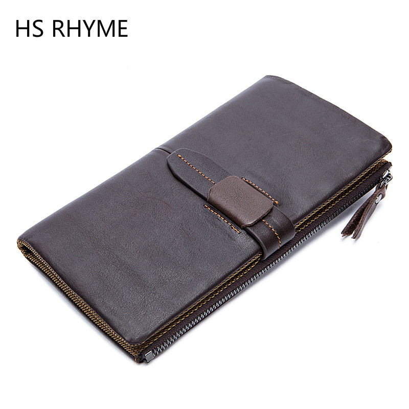 HS RHYME men wallet genuine leather purse and handbags for male luxury brand black zipper men clutches free shipping Coin Purse<br>