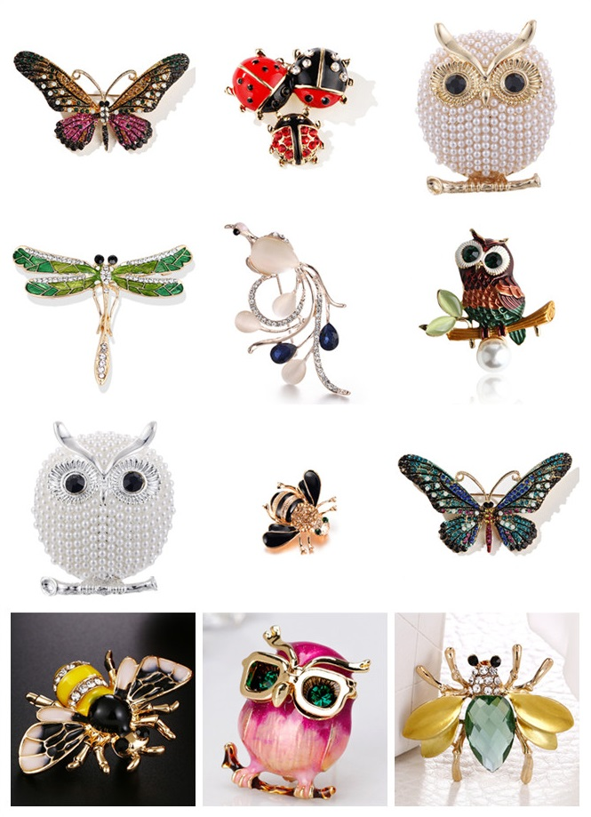 Enamel Insect Rhinestone Brooches Crystal Phoenix Butterfly Owl Dragonfly Bee Ladybug Animal Jewelry Accessories Brooch
