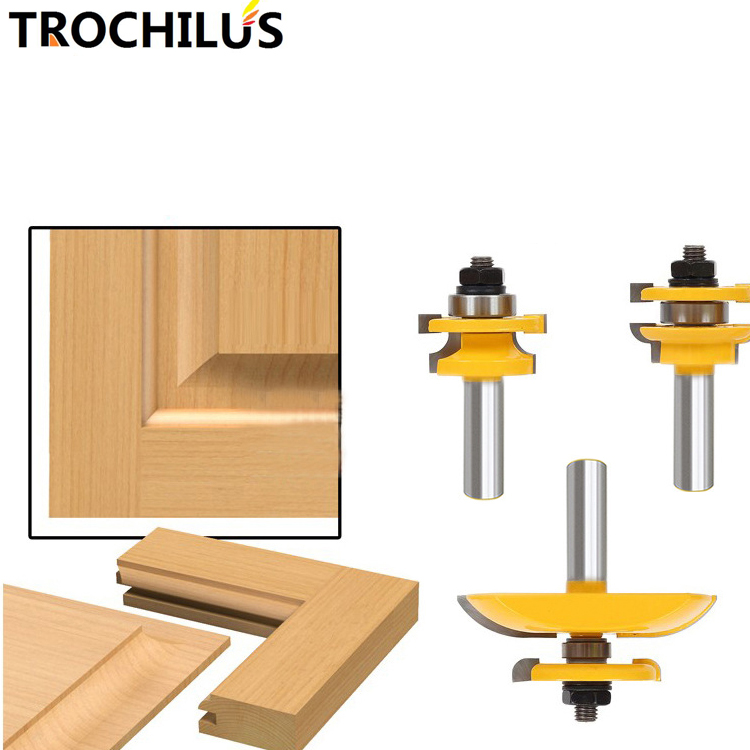 1/2-Inch handle milling cutters Round Over Rail and Stile with Cove Panel Raiser 3 Bit Router Bit Set for wood cutter 3pcs<br>