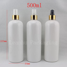 500ml X 15 White Empty Perfume Plastic Container , Water spray refillable Bottle , Cosmetic Packaging,Body Mist Spray Pump(China)