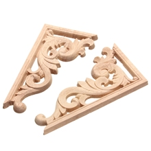 Retro 1pc 13*7cm Wood Carving Decal Corner Applique Frame Door Decorate Wall Doors Decorative Figurines Wooden Miniatures