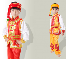 Suit +hat Boy Chinese National Stage Dance Costume Kid Miao Dance Clothing Child Hmong Dance Suit for Performance Traditional 89