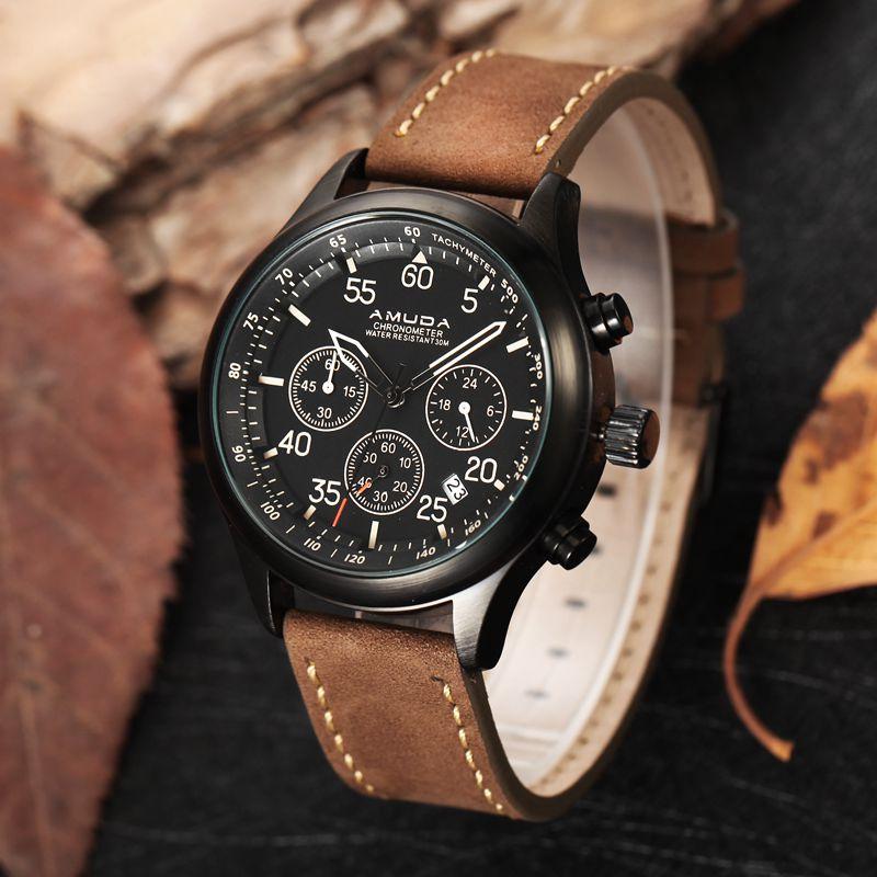 2017 New Amuda Luxury Brand Quartz Watches Men Analog Chronograph Clock Men Sports Military Leather Strap Fashion Wrist Watch<br><br>Aliexpress