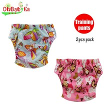 OhBabyKa Reusable Baby Potty Training Pants with Microfiber Fiber Inside Breathable Cloth Diaper Nappies Washable Learning Pants(China)