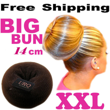 Retail Big bun 14CM 3-Color princess donuts meatball headwear hair accessory headband Free Shipping Wholesale(China)