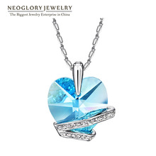 Neoglory Imitation Blue Crystal Heart Love Long Pendants Chokers Necklaces For Women 2017 New Brand Gifts