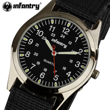 INFANTRY Quartz Watches Men Durable Nylon Strap Wristwatches 24 Hours Display Sports Watch Stainless Steel Case Relojes Hombre(China)