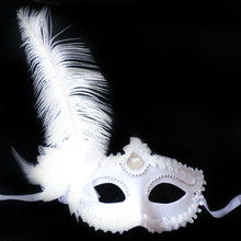 ISHOWTIENDA Masquerade Feather Mask Halloween Cutout Prom Party Mask Accessories Ostrich Princess Mask Black(China)