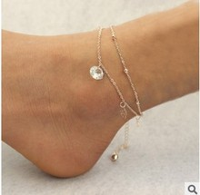 Sexy Gold Beach Anklets multilayer hollow roses Crystal Ankle Bracelet Foot Jewelry for Women Anklets  Bracelet on the Leg