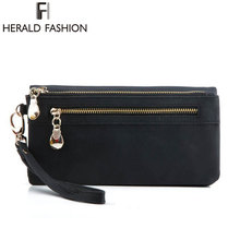 Fashion Women Wallets Dull Polish Leather Wallet Double Zipper Day Clutch Purse Wristlet Portefeuille Carteira Feminina Monedero