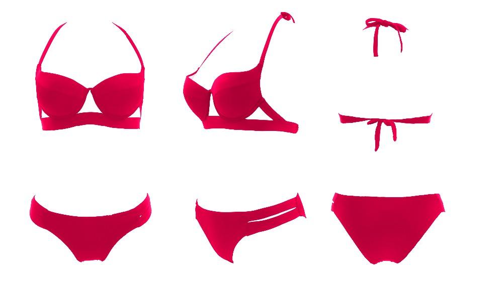 Hot Sale Strappy Bikini 17 Bandage Bikini Sets Push Up Bra Swimsuit Bathing Suit Brazilian Biquini Hollow Out Maillot De Bain 12