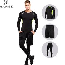 Men's Running Fitness Suit Gym Compression Quick Dry Workout Tight Sportswear Long Sleeved Shirts+Pants+Shorts 3pcs Sets