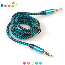 Binmer 3.5mm Audio Cable 2017 High Quality Stereo Car Auxiliary AUX Cable 3.5mm Male To Male for Smart Phone PC 1Meter JU5