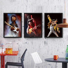 Animal Figure Playing Guitar Canvas Art Drawing Rock Music Style Wall Paper Creative Nordic Mural Poster Ornaments for Cafe Shop