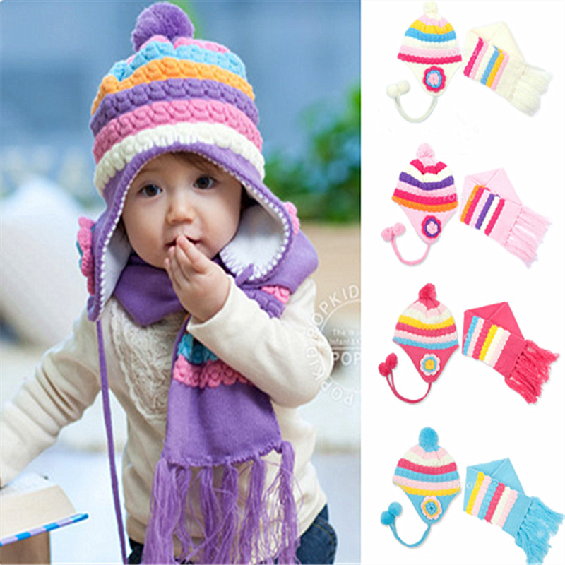2017 New Unisex Children Hat Winter Cap Knitted Beanies Scarf + Hat Two Piece Plain White Pineapple Stripe Sleeve kids beanies(China (Mainland))