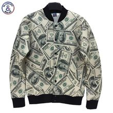 Mr.1991INC Newest style Men/Women jacket 3d Funny print Paper money dollars Washington 3d jacket college student uniforms(China)