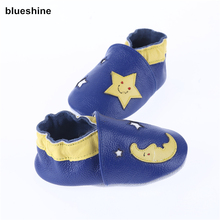 [blueshine]1pair Genuine Leather Baby First Walker Shoes,Soft Leather Baby Boy Moccasins Bebe Zapatos Infant Baby Shoes