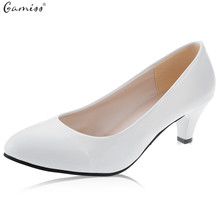 Gamiss Shallow Women Low Heel Sandals Shoes Round Toe Platform Red Bottom OL Office Career Pumps Women Casual Pumps Walk Shoes