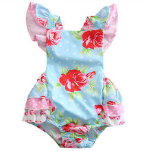 Rose Romper baby clothing Newborn Baby Girl Rose Floral Romper Ruffle Sunsuit Bow Clothes 0-24M