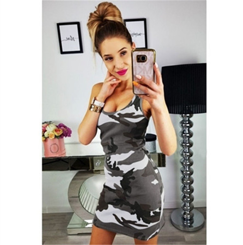 19 New Summer Fashion Women Sexy Tank Dress Slim Casual Camouflage Military O-Neck Print Splice Empire Mini Dresses Vestidos 6