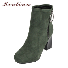 Meotina Women Ankle Boots High Heels Short Boots 2018 Winter Zip Thick Heels Autumn Shoes Green Female Shoes New Plus Size 33-45
