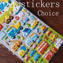 Children stickers car plane bus foam paste stickers for children Puzzle toy sticker learning gift