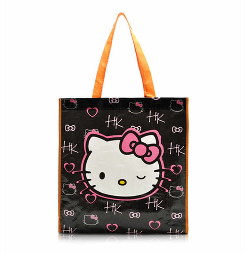 Detail Feedback Questions about Cute Cartoon Hello Kitty Plastic Woven Bag  Large Tote Handbag Reusable Eco Shopping Bags Gift Bag With Handles on ... 4d93d42f7d