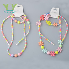 Beads Kids Hairband Set Children Flower Headbands Acrylic Crystal Hair Hoop Boutique Girls Hair Accessories Princess Headwear