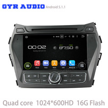 quad core 1024*600 Android 5.1 Car GPS stereo dvd player For hyundai ix45 santa fe 2013-2015 with WIFI 3G usb bluetooth radio