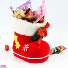 Fashion Christmas Flocking Boots Socks Merry Christmas Tree Decoration Santa Claus Kids Candy Box Home Party Decor Gift Bag 5Z