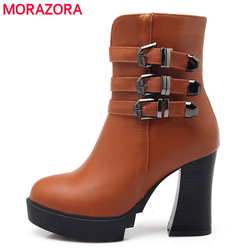 2017 fashion winter keep warm ankle boots thick high heels round toe platform solid women boots large size 34-43<br><br>Aliexpress