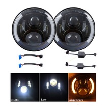 7 inch Round LED Headlight DRL Turn Signal halo Angel eye 60W Headlights Wrangler Harley Hummer FJ Cruiser Defender - DP off road&Motor Lights Store store