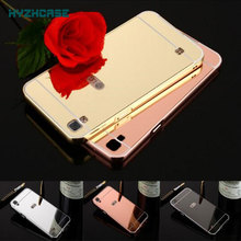 Fashion Rose Gold Silver Black Beauty Frame Mirror Case For LG X Style Fundas Capa 5.0 inch K200DS Shell Back Cover Housing New