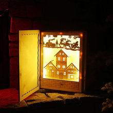 New Creative Room Decor LED Light Luminous Cabins Wooden Book Cover Home Table Desk Ornaments Kids Christmas New Year Gifts(China)