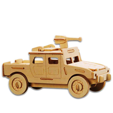 Kids Toy Of 3D Wooden Puzzle For Children And Adult The Us Humvee A Quality Montessori Educationaly Diy Toy As A Gift For Family(China)