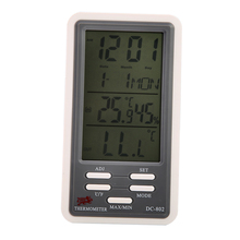 Large LCD Digital Thermometer Indoor Outdoor Weather Station Temperature + Hygrometer Date and Time Display with Alarm Clock