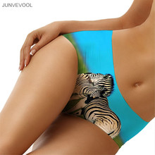 Brand Underwear Women Sexy Briefs 2017 Knickers 3D Zebra Couple Printing Panties G-string Middle Waist Tattoo Lingerie Underwear