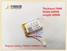 3.7V 500mAh 702030 Lithium Polymer Li-Po Rechargeable Battery For DIY Mp3 MP4 MP5 GPS PSP bluetooth electronic part Video games