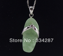 New Listed !Free Shipping  slippers-shaped Light Green  Jades   Pendant Chain