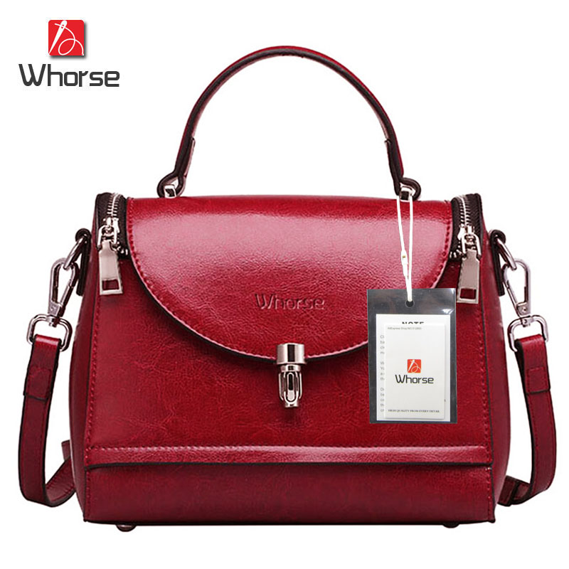 [WHORSE] Brand Logo New Women Handbag Genuine Leather Fashion Doctor Bag Small Shoulder Crossbody Bags Casual Cross Body Bag<br><br>Aliexpress