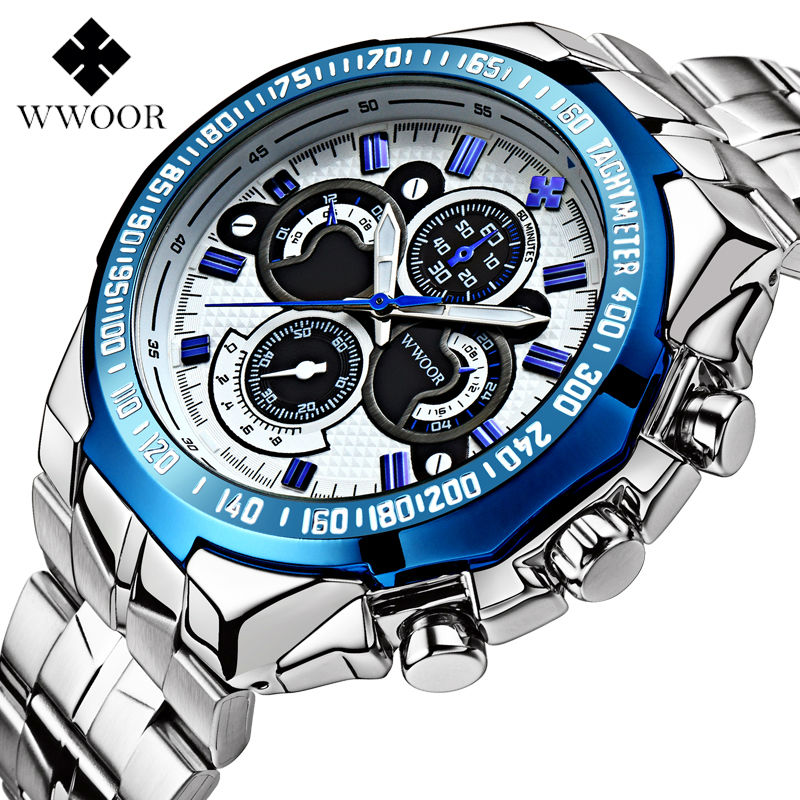 The New WWOOR Luxury Brand Mens Watches Stainless Steel Strap Sports Waterproof Watch Relogio Male Quartz Watch Leisure Watch<br><br>Aliexpress