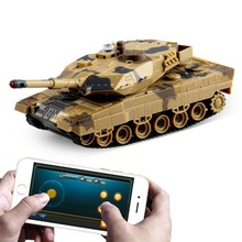 rc fighter tank 147500-H500 1/36 German Leopard IIA6 Infrared Shooting Bluetooth Gravity Induction RC Battle Tank phone control