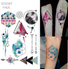 W08 1 Piece Watercolor Geometric Magic Tattoo with Triangle, Square, Semicolon,Lock Design Body Paint Waterproof Tattoos(China)