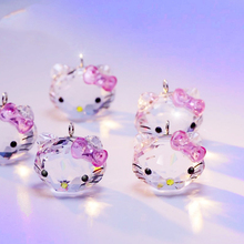 High Quality Lovely Cute Cat Austrian Crystal Pendant Bowknot Princess Hello Kitty Jewelry Fashion DIY Accessories(China)
