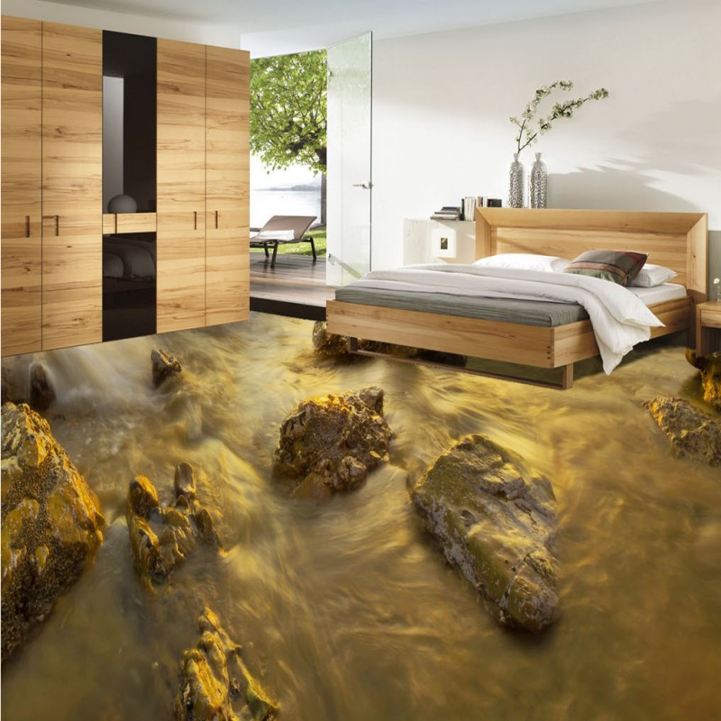 Free Shipping Beach stone flowing water 3d living room bathroom floor self-adhesive non-slip bedroom study office flooring mural<br><br>Aliexpress