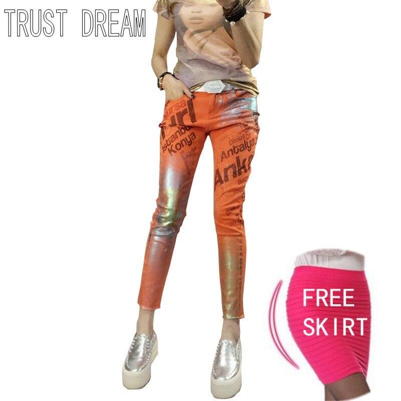 TRUST DREAM Super Girl European Style Women Slim Jeans Painted Letter Bronzier Skinny Female Colorful Amazing Fashion JeansÎäåæäà è àêñåññóàðû<br><br>