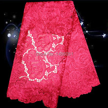 XG11-3!nice looking embroidered water soluble lace fabric in watermelon red,wholesale African guipure lace for women dress!