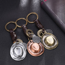 Cowboy Hat Pendant For Key Leather Keychain Motorcycle Keys Ring Chain Cover Holder Men Women Charms On a Bag Purse Accessories